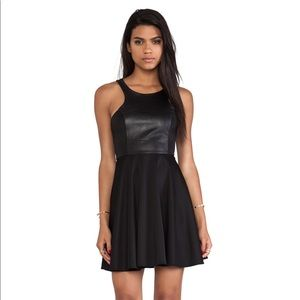 Fit and Flare Dress in Black Leather Blaque Label